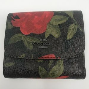 NWT Coach Floral Print & Logo Small Wallet